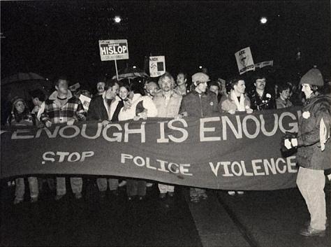 Bathhouse raids protests, Toronto, February 1981.